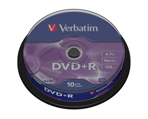 Диск DVD+R VERBATIM Cake Box, 16х, 10шт