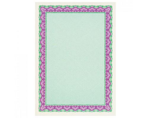 Бумага для сертификатов DECADRY А4, 115г/м2, Фиолетово-зеленая рамка, 25л.