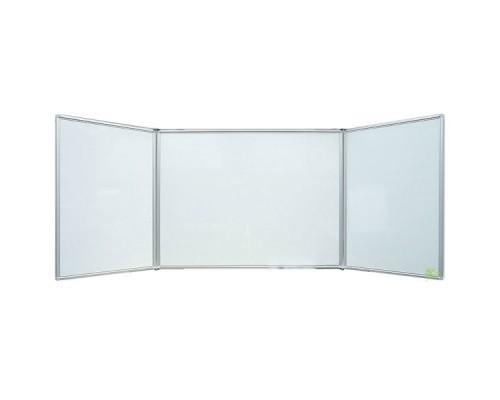 Доска белая, магнитно-маркерная, 150x100/300см, трехсекционная, алюминиевый профиль