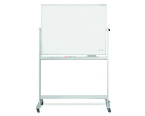 Доска белая, магнитно-маркерная, 120x90см MAGNETOPLAN, мобильная, поворотная, алюминиевый профиль