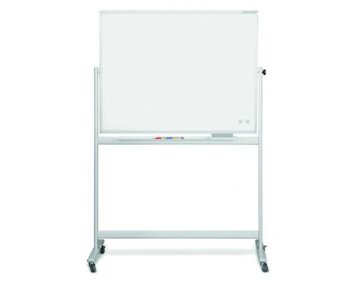 Доска белая, магнитно-маркерная, 200x100см MAGNETOPLAN, мобильная, поворотная, алюминиевый профиль