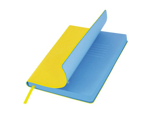 Ежедневник A5 145х210мм 256стр, недат, кожзам, PORTOBELLO River side, желтый/голубой