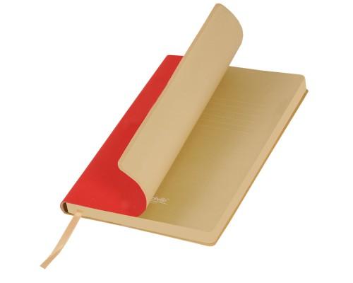 Ежедневник A5 145х210мм 256стр, недат, кожзам, PORTOBELLO Latte, красный/бежевый
