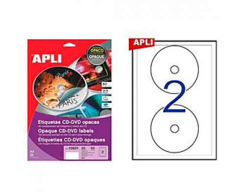 Этикетки самоклеящиеся D117мм, APLI для CD/DVD, 2шт., 25л., непрозрачный