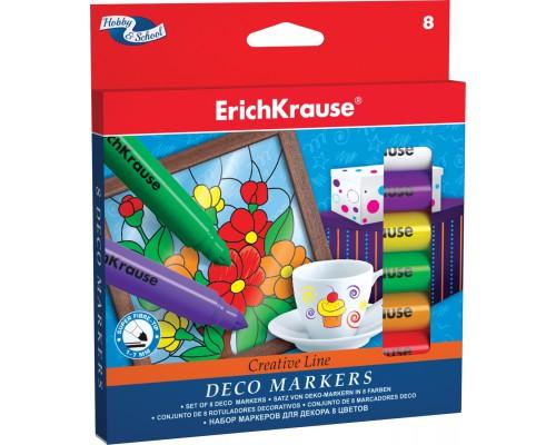 Маркеры для декора ErichKrause Easy Washable 8 цветов, ассорти
