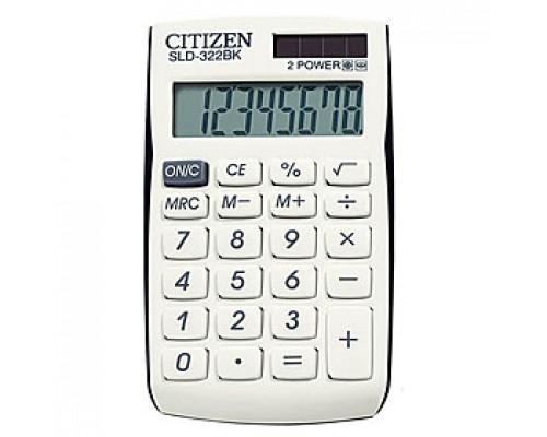 Калькулятор карманный 8 рязрядов CITIZEN SLD-322BK, 64х105х9мм, черно-белый