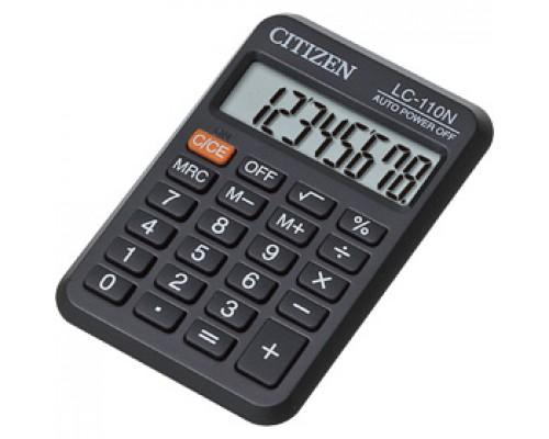 Калькулятор карманный 8 разрядов CITIZEN LC-110N, 88х58х11мм, черный