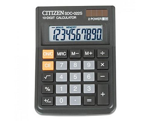 Калькулятор настольный 10 разрядов CITIZEN SDC-022S, 87х119,7х23,1мм, черный