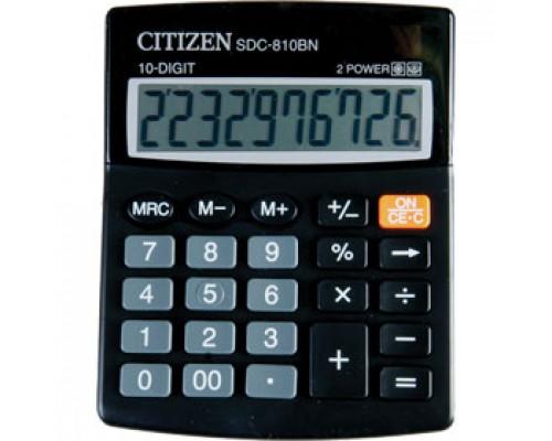 Калькулятор настольный 10 разрядов CITIZEN SDC-810BN, 100х125х34мм, черный