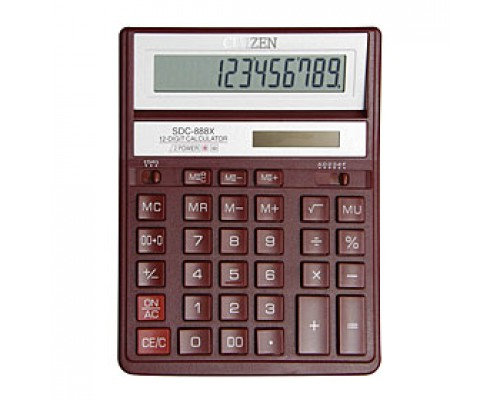 Калькулятор настольный 12 разрядов CITIZEN SDC-888XRD, 158х203х31мм, красный