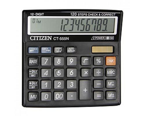 Калькулятор настольный 12 разрядов CITIZEN CT-555N, 130х128х34мм, черный