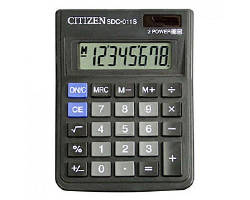 Калькулятор настольный 8 разрядов CITIZEN SDC-011S, 87х120х22мм, черный