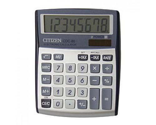 Калькулятор настольный 8 разрядов CITIZEN CDC-80WB, 108,5х135х24,5мм, серый