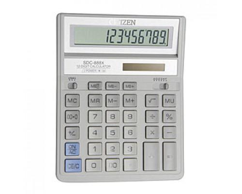 Калькулятор настольный 12 разрядов CITIZEN SDC-888XWH, 158х203х31мм, белый