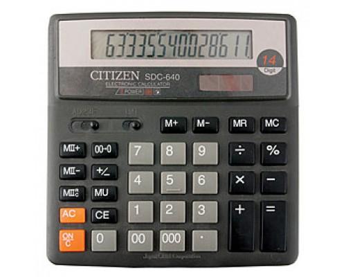 Калькулятор настольный 14 разрядов CITIZEN SDC-640II, 156х158,5х31,5мм, серый