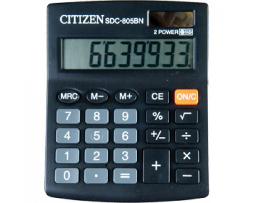 Калькулятор настольный 8 разрядов CITIZEN SDC-805BN, 102х131х18мм, черный