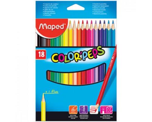 Набор карандашей 18цв. MAPED, трехгранный