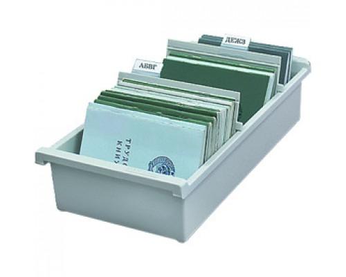 Картотека для карточек А6 на 1300шт HAN 956/0-11, горизонтальная, открытая, серый