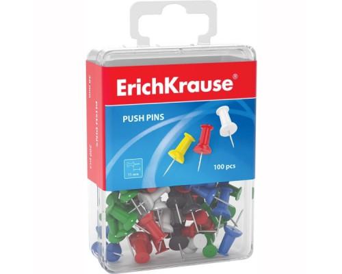 Кнопки для пробковых досок, ERICH KRAUSE, 100шт., пластиковый бокс