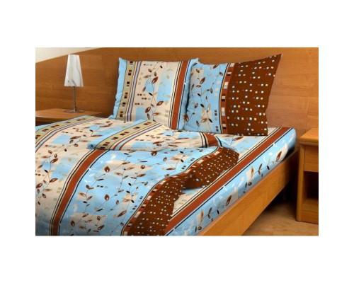 Комплект постельного белья 1.5-спальный бязь Ветка лианы голубая