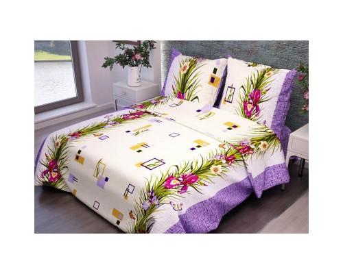 Комплект постельного белья 1.5-спальный бязь Ирисы фиолетовые