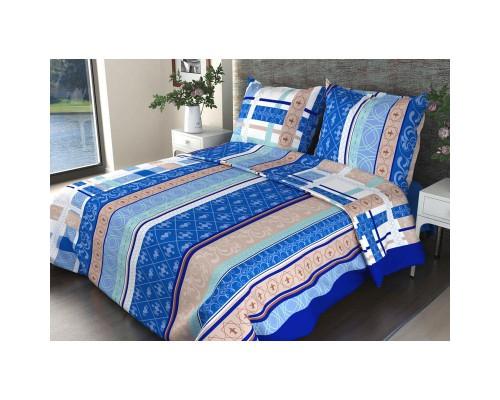 Комплект постельного белья 1.5-спальный бязь Аккорд синий