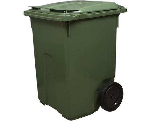 Контейнер-бак мусорный 370 л пластиковый на 2-х колесах с крышкой зеленый