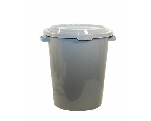 Бак для мусора 90л, пластик, серый