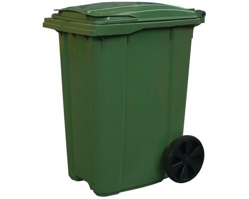 Контейнер-бак мусорный 360 л пластиковый на 2-х колесах с крышкой зеленый