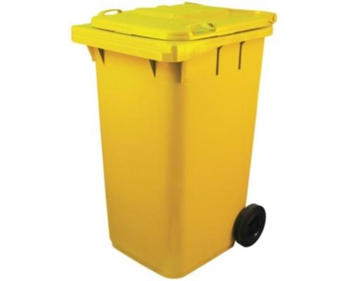 Контейнер-бак мусорный 240 л пластиковый на 2-х колесах с крышкой желтый
