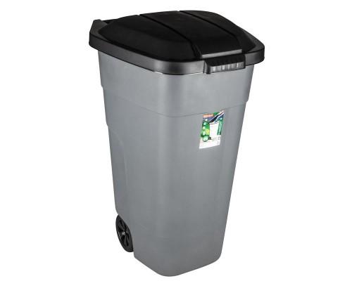 Контейнер-бак мусорный 110 л пластиковый на 2-х колесах с крышкой серый
