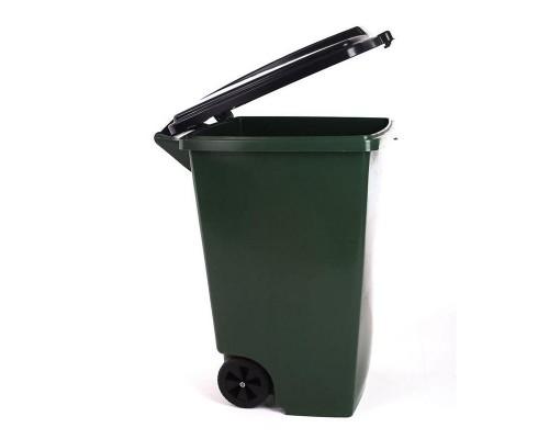 Бак мусорный 120л на 2-х колёсах зеленый c крышкой