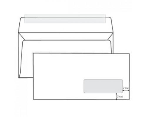 Конверт E65 110х220мм 80г, правое окно, стрип, 1000шт, белый