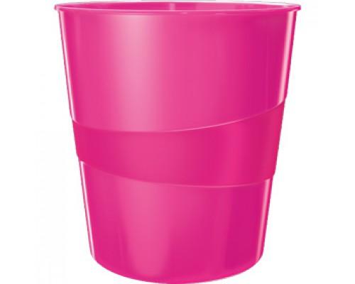 Корзина для бумаг 15л LEITZ WOW, сплошная, розовый