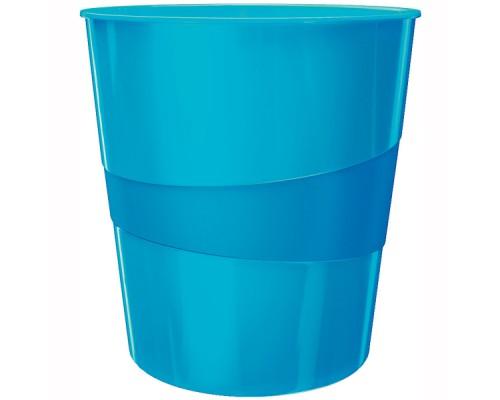 Корзина для бумаг 15л сплошная, LEITZ WOW, голубой