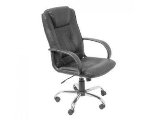 Кресло руководителя с механизмом качания T-800AXSN, кожа Split, каркас-хром, черный
