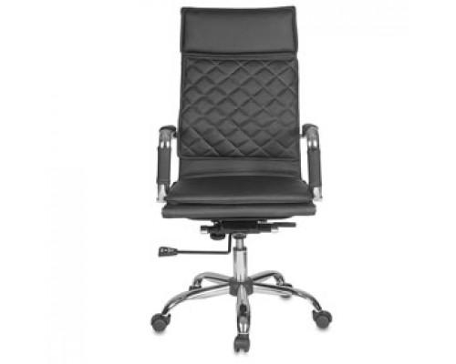 Кресло руководителя с механизмом качания CH-991, иск.кожа, каркас-хром, черный