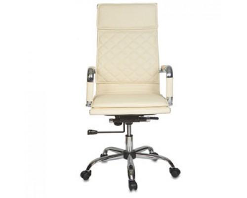 Кресло руководителя с механизмом качания CH-991, иск.кожа, каркас-хром, слоновая кость