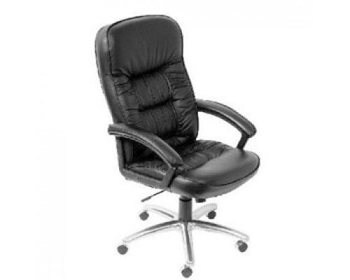 Кресло руководителя с механизмом качания T-9908AXSN-AB, кожа, каркас-алюминий, черный