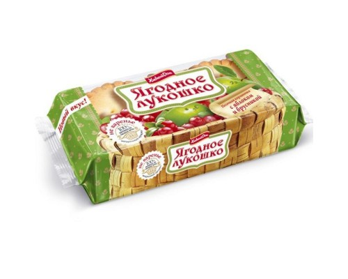 Кекс Ягодное лукошко с яблоком и брусникой (2 штуки по 70 г)