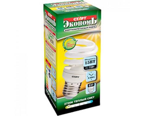 Лампа энергосберегающая 15W (75Вт) E27, компакт.спираль тпл. бел.