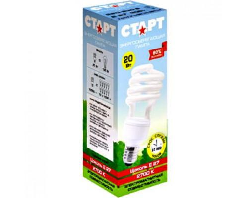 Лампа энергосберегающая 20W (100Вт) E27, компакт.спираль тпл. бел.