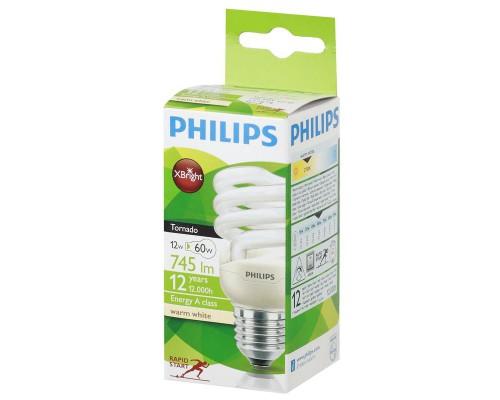 Лампа люминесцентная Philips CLL Tornado mini 12 Вт цоколь E27 (теплый белый свет)