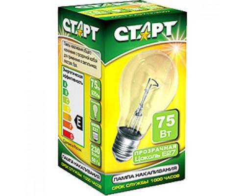 Лампа накаливания 75Вт E27, стандартная прозрачная