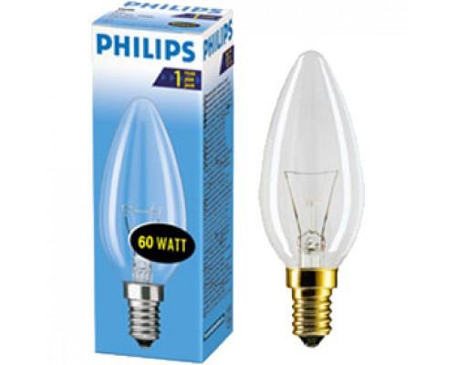 Лампа накаливания 60Вт E14 PHILIPS, свеча прозрачная