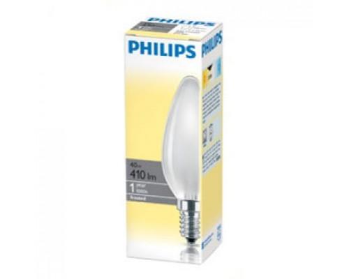 Лампа накаливания 40Вт E14 PHILIPS, свеча матовая