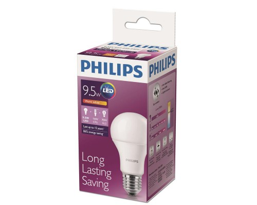 Лампа светодиодная LED Philips 9.5 Вт цоколь E27 груша (теплый белый свет)