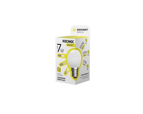 Лампа светодиодная LED Космос Smart 7 Вт цоколь E27 (переменная яркость, теплый белый свет)