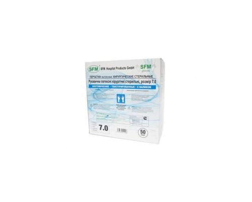 Перчатки медицинские хирургические SFM латексные стерильные опудренные ПАФ размер 7.5 (50 пар в упаковке)
