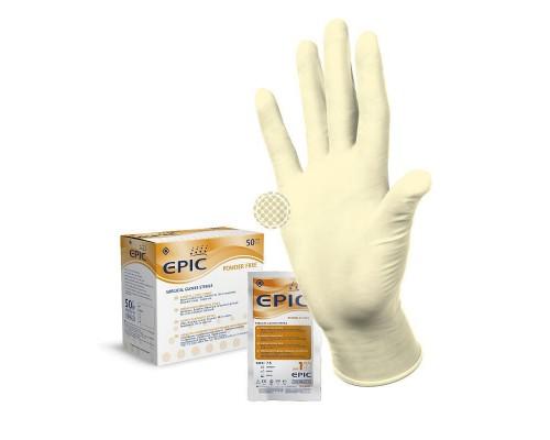 Перчатки медицинские хирургические Epic латексные стерильные неопудренные ПАФ размер 6.5 (50 пар в упаковке)